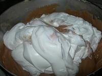 Riscaldare il latte con il cacao per la bagna. Bagnare il primo strato di  pan di spagna, mettere un generoso strato di crema.