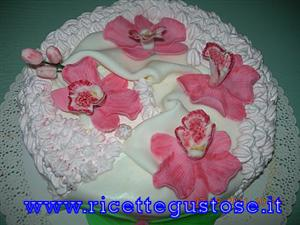 Torta decorata con orchidee