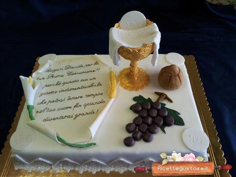 Torta prima comunione decorata pasta di zucchero torte for Decorazione torte prima comunione