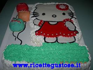 Torta a forma di hello kitty in pasta di zucchero